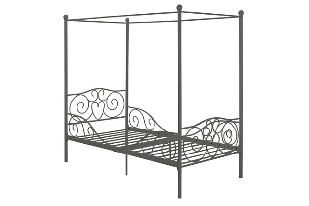 Canopy Twin Bed, Silver, large