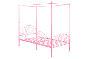 Canopy Twin Bed, Pink, large