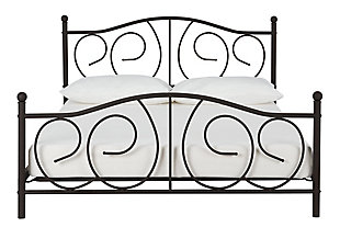 Kris Queen Metal Bed, Bronze, large