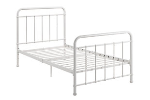 Lynly Iron Twin Bed, White, rollover