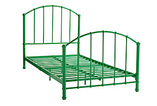Brickmill BrickMill Ivy Twin Metal Bed, Green, rollover