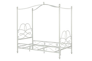 Avenue Greene Fancy Canopy Twin Bed, White, rollover
