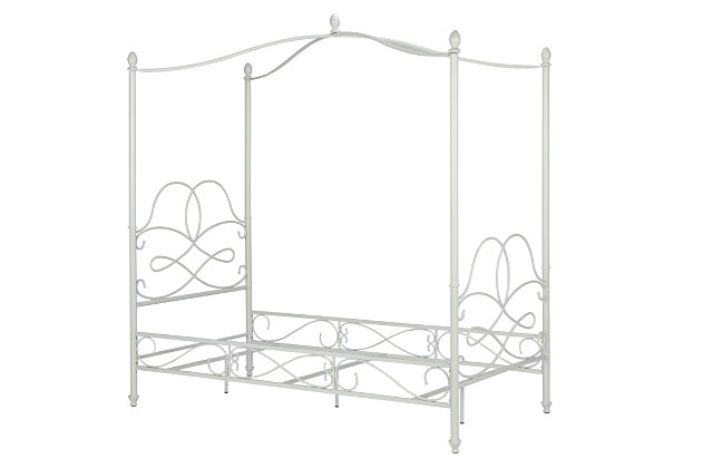 Avenue Greene Fancy Canopy Twin Bed, White, large