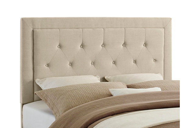 Linon Clayton Full/Queen Upholstered Headboard, Natural, large