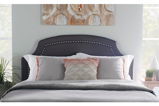 Courvan Full/Queen Upholstered Headboard, Charcoal, large