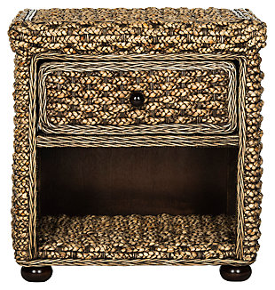 Braided Wicker One Drawer Night Stand, , large