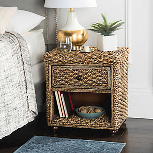 Braided Wicker One Drawer Night Stand, , rollover