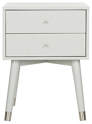 Lyla Mid Century Silver Cap Night Stand, , large