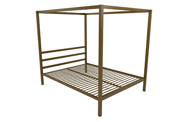 Modern Metal Canopy Queen Bed, , large