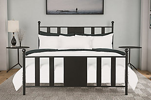 Scarlette Queen Metal Bed, Black, rollover