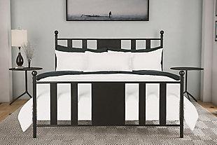 Scarlette Queen Metal Bed, Black, rollover