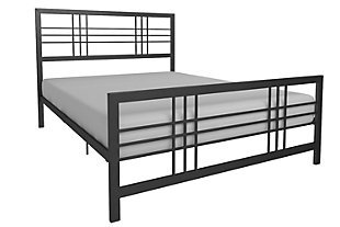 Burbank Queen Metal Bed, Black, large