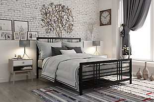 Burbank Queen Metal Bed, Black, rollover