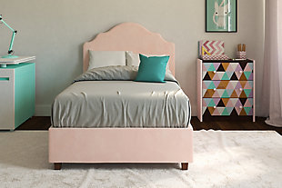 Savvi Twin Upholstered Bed, Pink, large