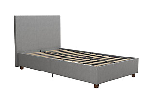 Alexi Twin Upholstered Bed, Gray, rollover