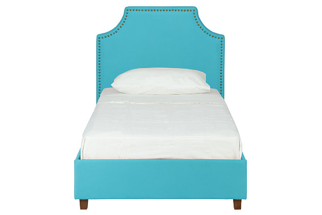 Melita Twin Upholstered Bed, Teal, large