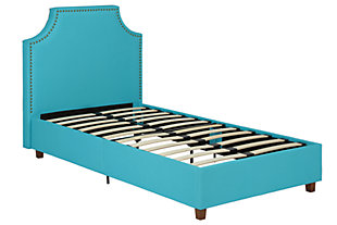 Melita Twin Upholstered Bed, Teal, rollover