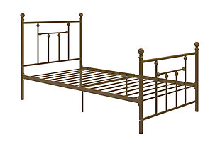 Mani Twin Metal Bed, Metallic, rollover