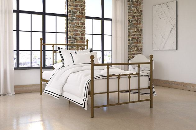 Mani Twin Metal Bed, Metallic, large