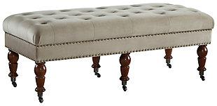Clea Velvet 50 Inch Bench, , large