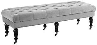 Clea Velvet 62 Inch Bench, , large