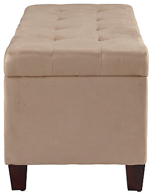 Linon Shoe Storage Ottoman, Beige, large