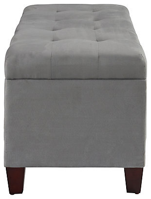 Linon Shoe Storage Ottoman, Gray, large