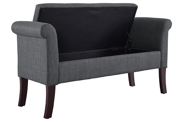Erika Storage Bench, Charcoal, large