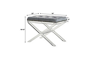 Linon X Base Acrylic Leg Vanity Bench, , large