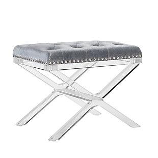 Linon X Base Acrylic Leg Vanity Bench, , rollover