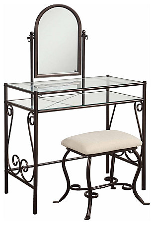 Leah Metal Vanity Set, , large