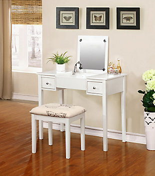 Kensley Butterfly Vanity Set, White, large