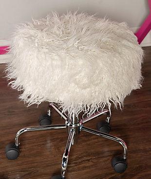Linon Faux Fur Rolling Stool, , large
