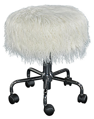 Lexi Faux Fur Rolling Stool, , large