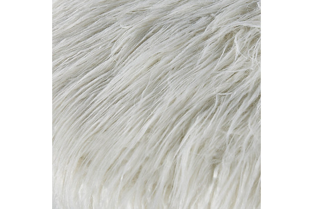 Lexi Faux Fur Rolling Stool, , large