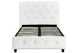 Dakota Twin Upholstered Bed, White, large