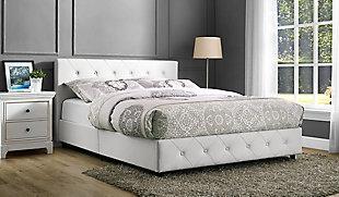 Dakota Full Upholstered Bed, White, rollover
