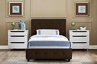 Dakota Twin Upholstered Bed, Brown, rollover