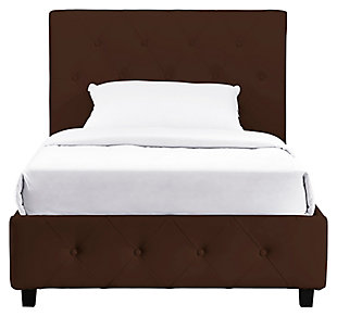 Dakota Twin Upholstered Bed, Brown, large