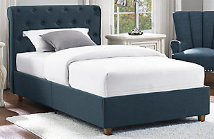 Carmela Twin Upholstered Bed, Blue, rollover