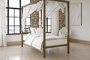 Modern Metal Canopy Twin Bed, Gold Finish, rollover