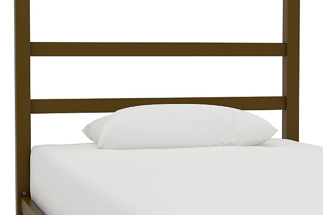 Modern Canopy Twin Bed, Gold Finish, large