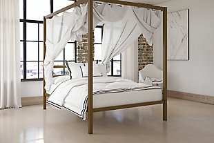 Modern Canopy Full  Bed, Gold Finish, rollover