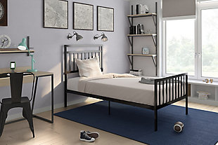 Jackson Modern Twin Metal Bed, Black, rollover