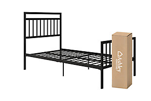 Jackson Twin Metal Bed with Mattress, Black, large