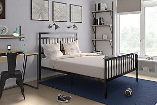 Jackson Modern Full Metal Bed, Black, rollover