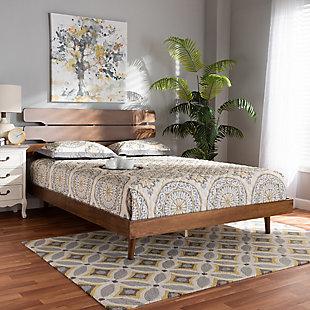 Baxton Studio Anzia Mid-Century Wood Queen Platform bed, , rollover