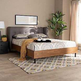 Baxton Studio Catarina Mid-Century Queen Wingback Platform Bed, Gray, rollover