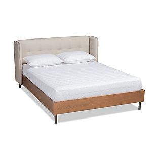 Baxton Studio Catarina Mid-Century Queen Wingback Platform Bed, Beige, large