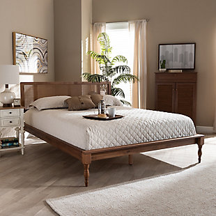Baxton Studio Romy Vintage French Inspired Rattan Queen Platform Bed, Brown, rollover
